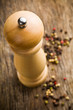 closeup of wooden pepper mill