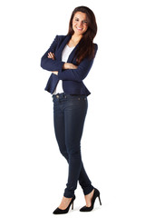 Portrait of a businesswoman standing against white background