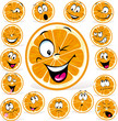 orange cartoon with many expressions