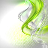 Fototapety Abstract gray waving background with green element