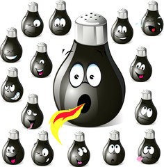 pepper shaker cartoon with many expressions