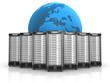 7 Server in Formation mit blauem Globus