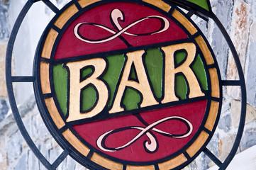 Enseigne bar vitrail rétro