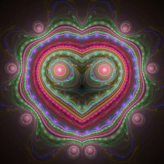 Colorful abstract heart, fractal art for valentine's day