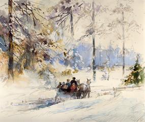 winter landschaft zeichnung