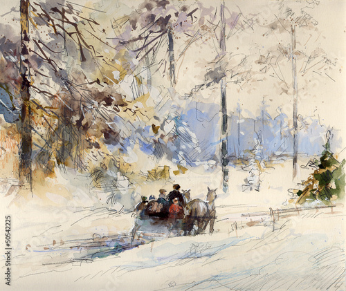 zimowy-pejzaz-rysunek