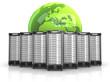 7 Server in Formation mit grünem Globus