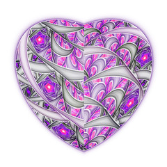 Light abstract heart, digital fractal art for valentine's day