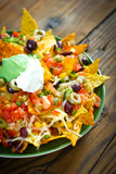 Nachos on the wooden table