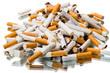 Pile of broken cigarettes