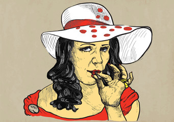 lady from the higher social strata smokes marijuana joint