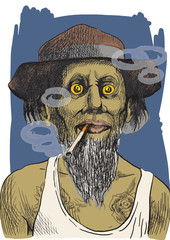 tough guy in a hat smoking a strong cigarette