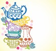 tea cup background with teapot - 50545233