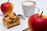 Coffee, apple pie and two apples