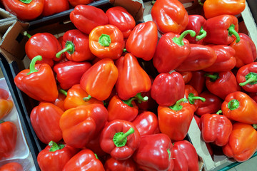 Red Peppers in supermarkets