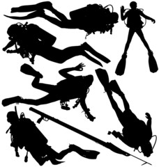 Scuba diver and speargun vector silhouettes. Layered, editable