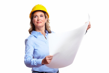 Architect woman with a plan.