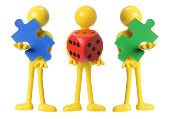 Miniature Figures with Dice and Puzzles