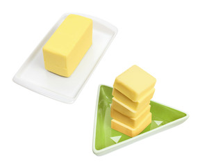 Butter Slices on Plates