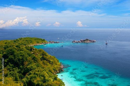 View from a viewpoint on  island Miang, Similan , Thailand