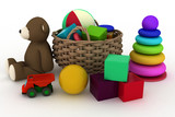 child's toys are in a basket. 3d render illustration.