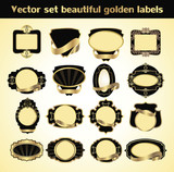 vector set beautiful golden labels