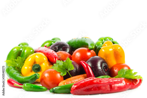 Fresh vegetable isolated on white background.  Healthy Eating. S