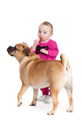 little girl with the big dog. Baby girl and her best friend.