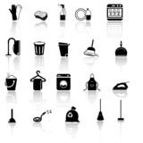 Cleaning icons set - black series