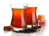 glasses of Turkish tea and rahat Delight, isolated on white