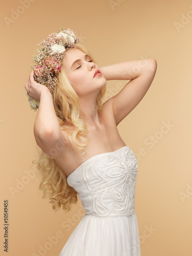 woman wearing wreath of flowers