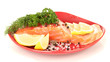Fresh salmon fillet with herbals and lemon slices