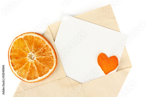 Old envelope with blank paper isolated on white