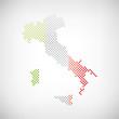 Italien Karte punktiert mit Nationalfarben