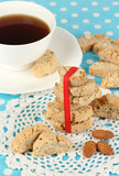 Aromatic cookies cantuccini and cup of coffee