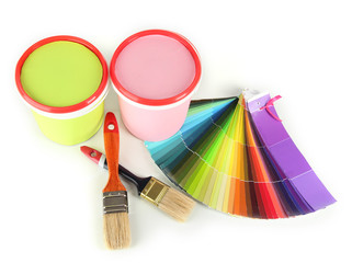 Paint pots, paintbrushes and coloured swatches isolated on