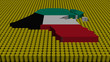 Kuwait map flag with oil barrels illustration