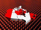 Canada map flag with abstract people illustration