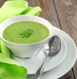Fresh green pea soup (Selective Focus, Focus on the pea in the m