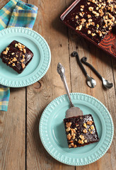 Homemade chocolate sheet cake with nuts (Texas sheet cake)