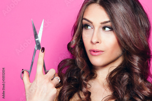 woman hold scissors