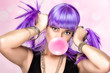 Beauty Party Girl. Purple Wig and Pink Bubble Gum