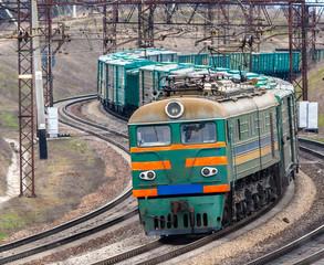 Heavy electric freight train in Ukraine