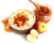 cottage cheese in bowl with homemade fruit jam, isolated