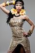 Young beautiful African fashion model.