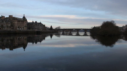 Perth waterfront and River Tay Scotland