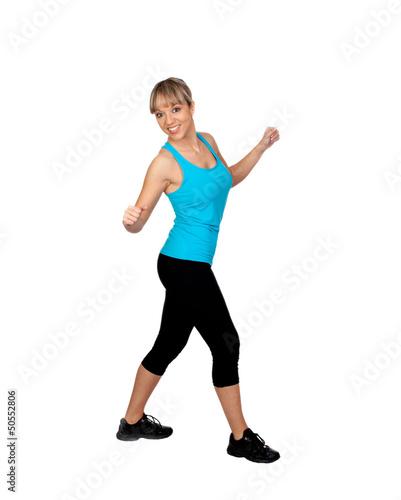 Woman in sportswear dancing