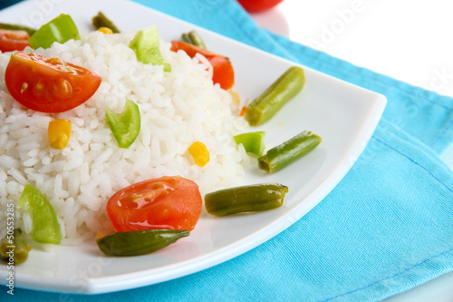 Delicious risotto with vegetables, close up