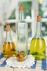 Original glass bottles with salad dressing