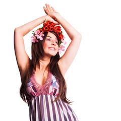 junge Frau mit Tulpenkopfschmuck